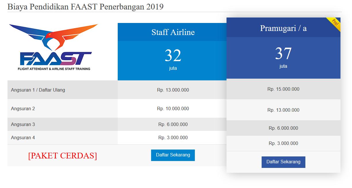 Biaya Sekolah Pramugari FAAST Penerbangan Prodi Pramugari