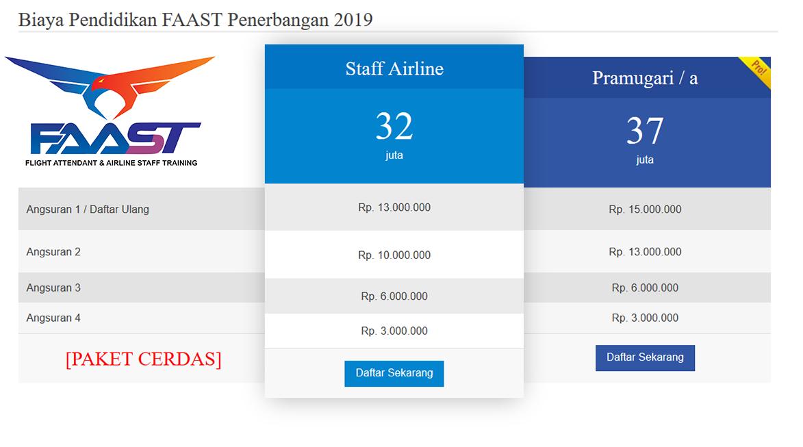 Biaya Sekolah Pramugari FAAST Penerbangan Prodi Staff Airline