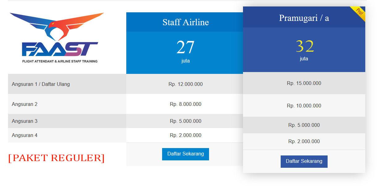 Rincian Biaya Sekolah Pramugari FAAST Penerbangan Prodi Pramugari