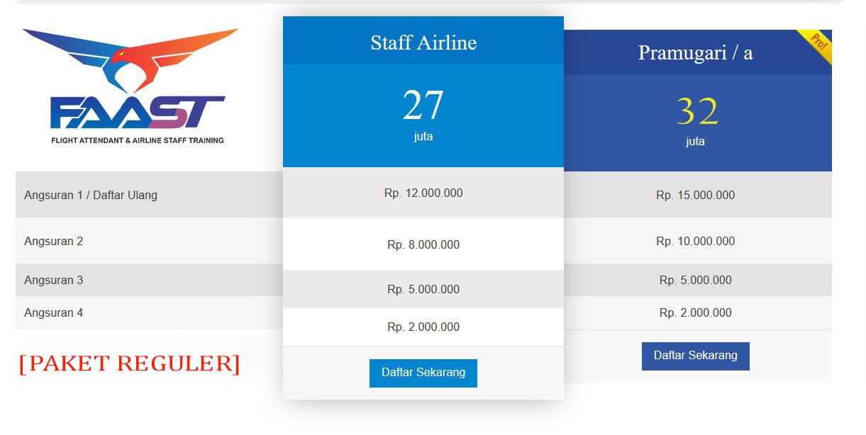 Rincian Biaya Sekolah Pramugari FAAST Penerbangan Prodi Staff Airline