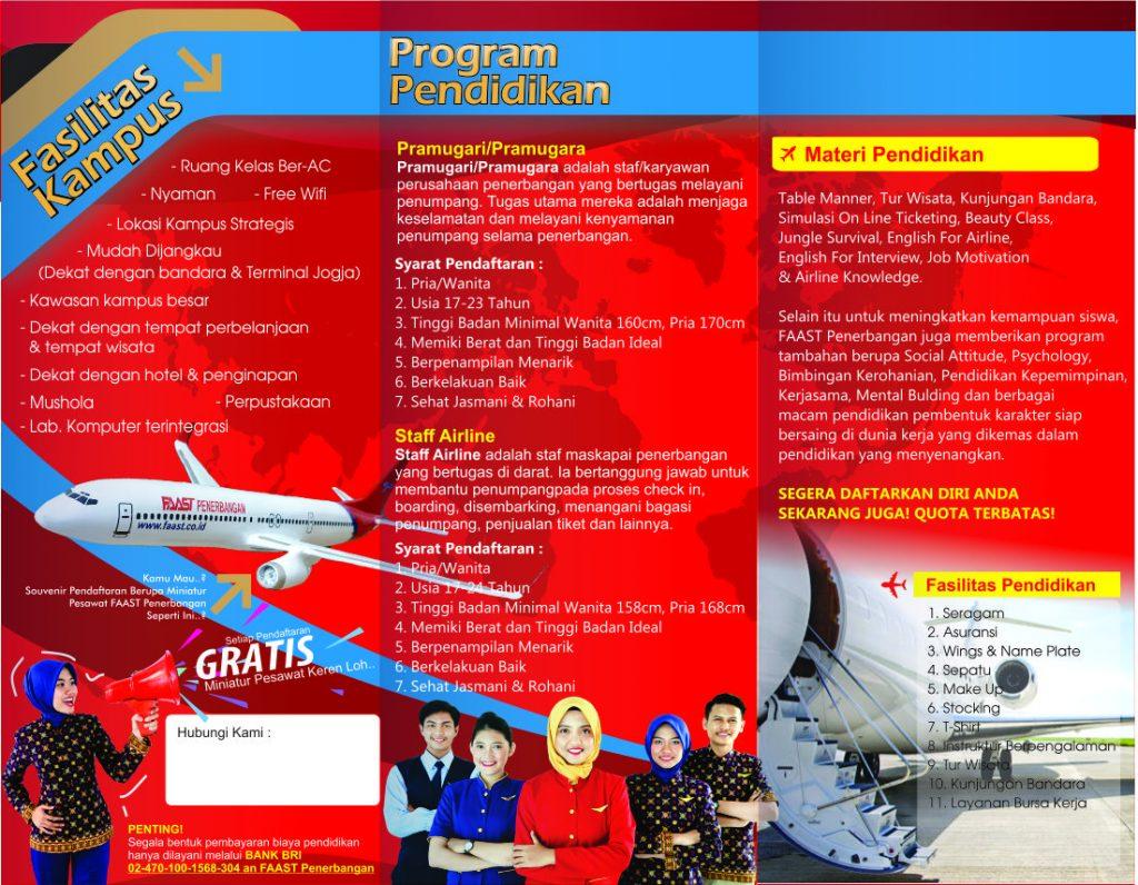 Brosur Sekolah Pramugari FAAST Penerbangan - Belakang
