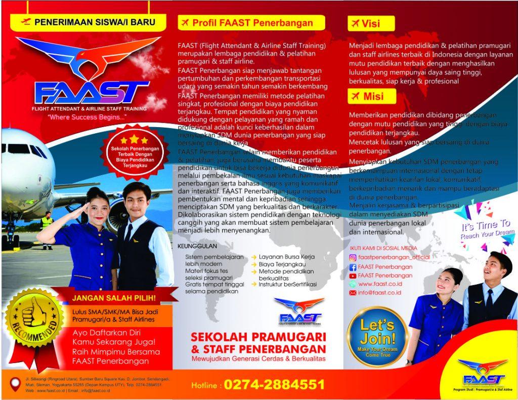 Brosur Sekolah Pramugari FAAST Penerbangan - Depan