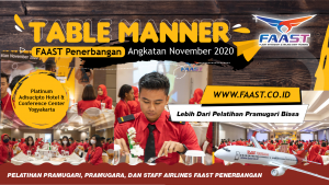 Table Manner Sekolah Pramugari FAAST Penerbangan